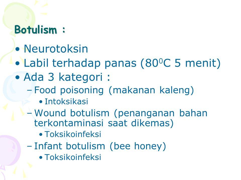 Botulism : Neurotoksin Labil terhadap panas (80 0 C 5 menit) Ada 3 kategori : –Food poisoning (makanan kaleng) Intoksikasi –Wound botulism (penanganan
