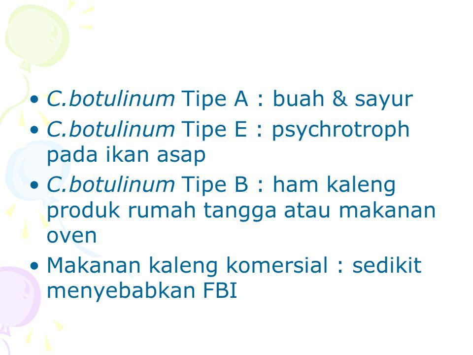 C.botulinum Tipe A : buah & sayur C.botulinum Tipe E : psychrotroph pada ikan asap C.botulinum Tipe B : ham kaleng produk rumah tangga atau makanan ov