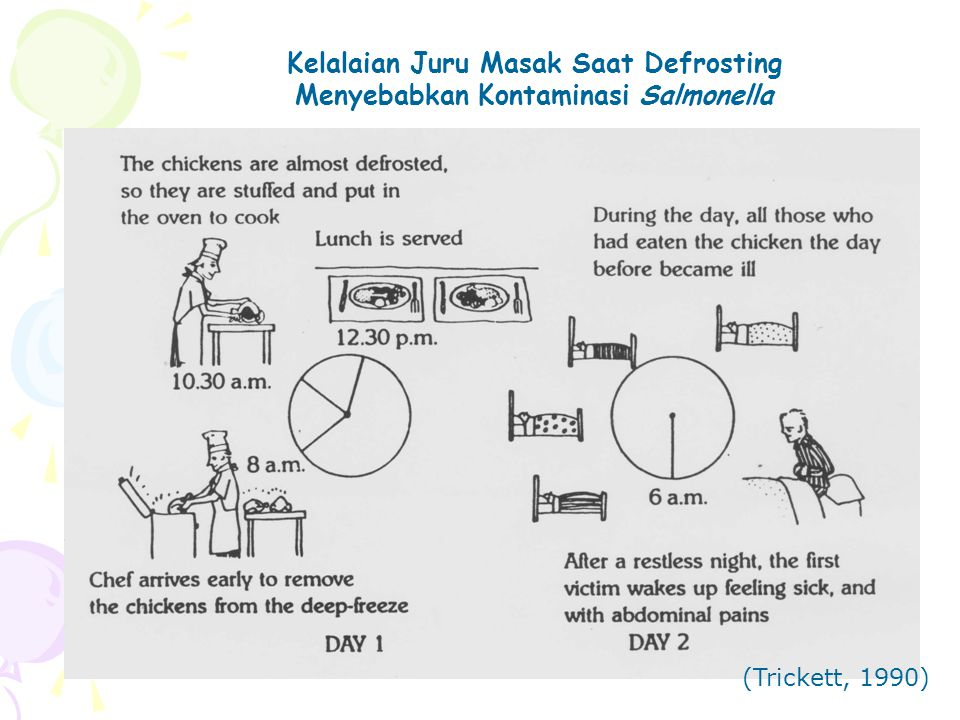 Kelalaian Juru Masak Saat Defrosting Menyebabkan Kontaminasi Salmonella (Trickett, 1990)