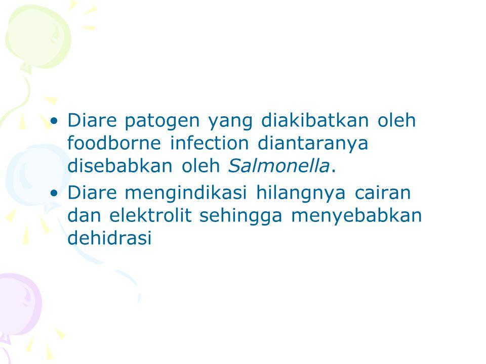 Diare patogen yang diakibatkan oleh foodborne infection diantaranya disebabkan oleh Salmonella. Diare mengindikasi hilangnya cairan dan elektrolit seh