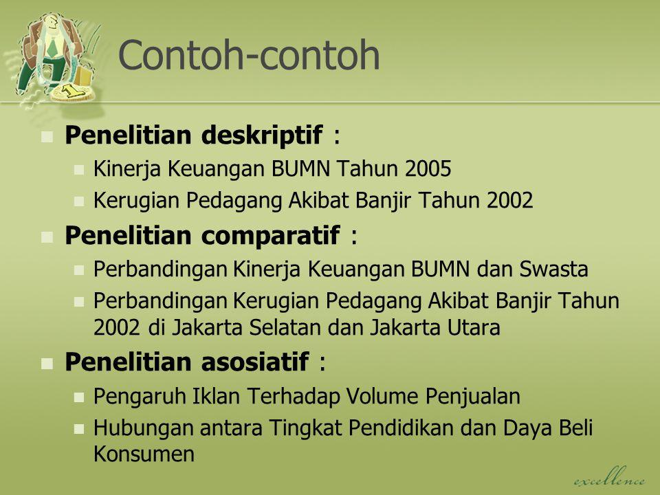 Contoh-contoh Penelitian deskriptif : Kinerja Keuangan BUMN Tahun 2005 Kerugian Pedagang Akibat Banjir Tahun 2002 Penelitian comparatif : Perbandingan