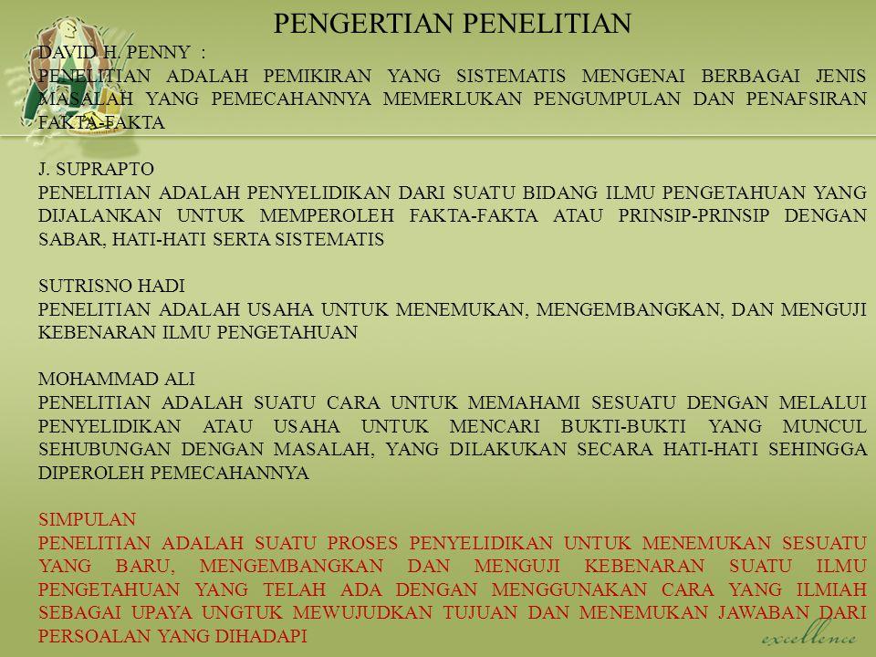 CIRI –CIRI PENELITIAN YANG BAIK (COOPER AND EMORY, 1996) 1.MASALAH DIDEFINISIKAN DAN DIRUMUSKAN DENGAN JELAS 2.PROSEDUR PENELITIASN HARUS DIURAIKAN SECARA TERPERINCI 3.DESAIN PENELITIAN JELAS 4.PENELITI MELAPORKAN HASIL PENELITIAN SECARA JUJUR TERMASUK BILA ADA KELEMAHAN 5.ANALISIS DATA HARUS SESUAI DENGAN HIPOTESIS DAN DESAIN PENELITIAN 6.KESIMPULAN HARUS BERDASARKAN DATA YANG TELAH DIUJI DAN SINKRON DENGAN RUMUSAN MASALAH YANG DIAJUKAN 7.KULIFIKASI PENELITI HARUS MEMENUHI PERSYARATAN SYARAT YANG HARUS DIMILIKI SEORANG PENELITI 1.KOMPETEN : MENGUASAI ILMU PENGETAHUAN DAN TRAMPIL UNTUK MELAKUKAN PENELITIAN 2.JUJUR 3.OBJEKTIF : TIDAK MEMASUKKAN KEINGINAN PRIBADI TERHADAP HASIL PENELITIAN 4.FAKTUAL : BEKERJA BERDASARKAN FAKTA 5.TERBUKA : BERSEDIA MENYAMPAIKAN HASIL PENELITIAN DAN PROSEDURNYA, BERSEDIA DIUJI DAN MENERIMA SEGALA MASUKKAN YG SIFATNYAMENDUKUNG