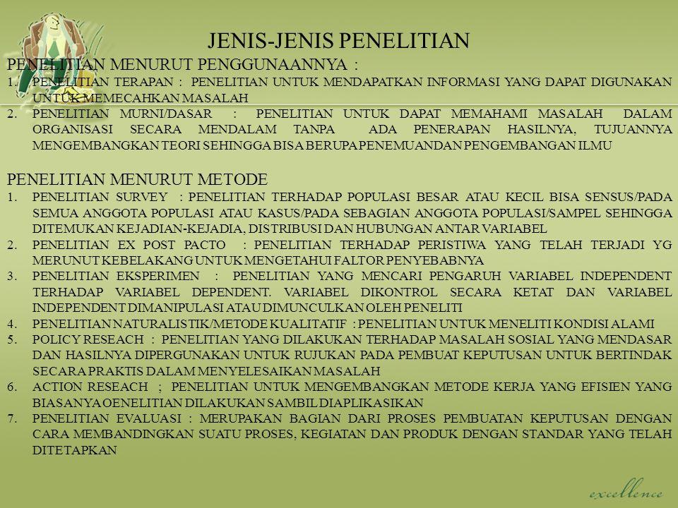 JENIS-JENIS PENELITIAN PENELITIAN MENURUT PENGGUNAANNYA : 1.PENELITIAN TERAPAN : PENELITIAN UNTUK MENDAPATKAN INFORMASI YANG DAPAT DIGUNAKAN UNTUK MEM