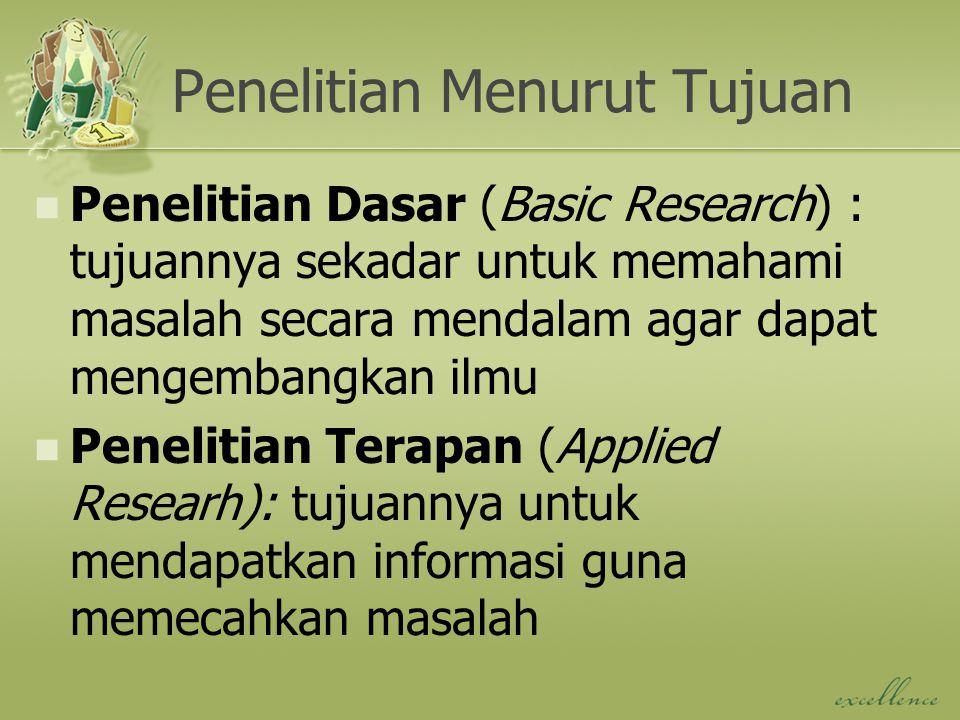 Penelitian Menurut Tujuan Penelitian Dasar (Basic Research) : tujuannya sekadar untuk memahami masalah secara mendalam agar dapat mengembangkan ilmu P