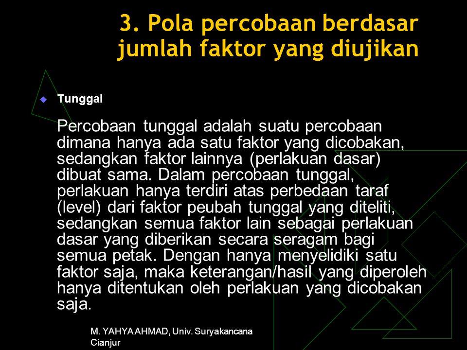 M. YAHYA AHMAD, Univ. Suryakancana Cianjur 3. Pola percobaan berdasar jumlah faktor yang diujikan  Tunggal Percobaan tunggal adalah suatu percobaan d