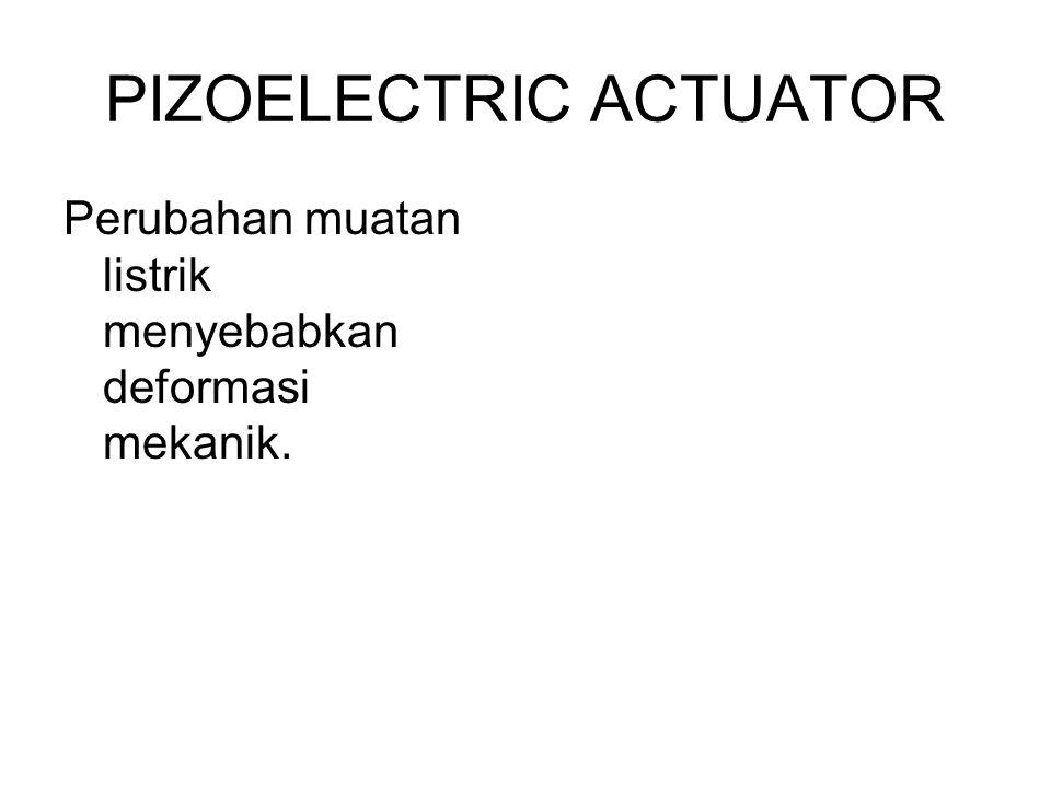 PIZOELECTRIC ACTUATOR Perubahan muatan listrik menyebabkan deformasi mekanik.
