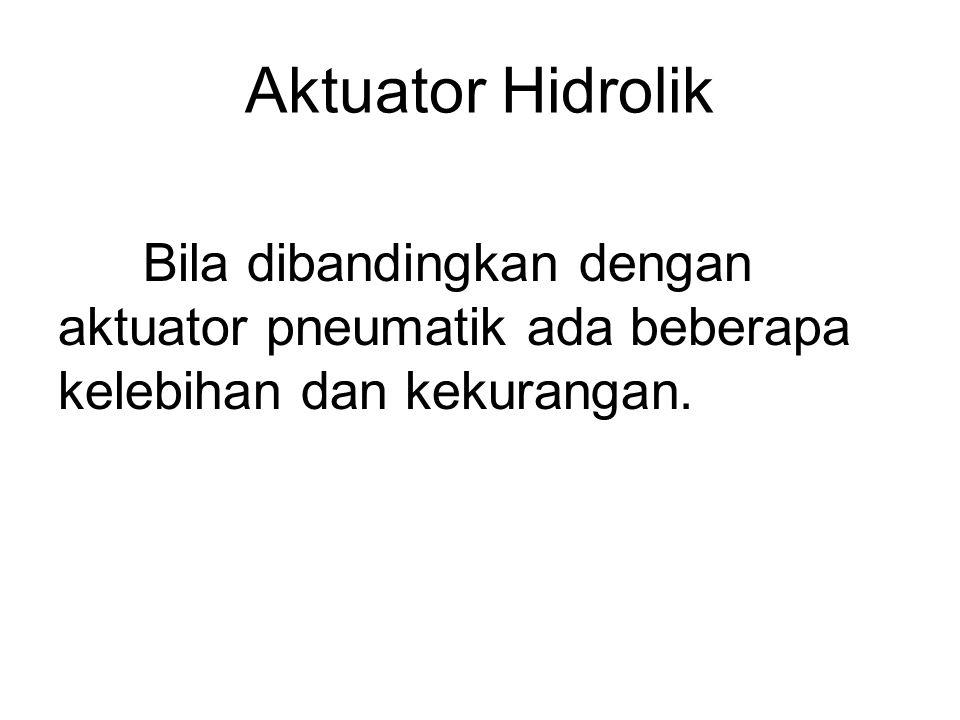 Aktuator Hidrolik Bila dibandingkan dengan aktuator pneumatik ada beberapa kelebihan dan kekurangan.
