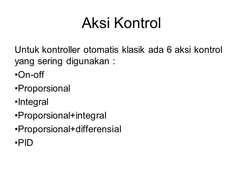 Aksi Kontrol Untuk kontroller otomatis klasik ada 6 aksi kontrol yang sering digunakan : On-off Proporsional Integral Proporsional+integral Proporsional+differensial PID
