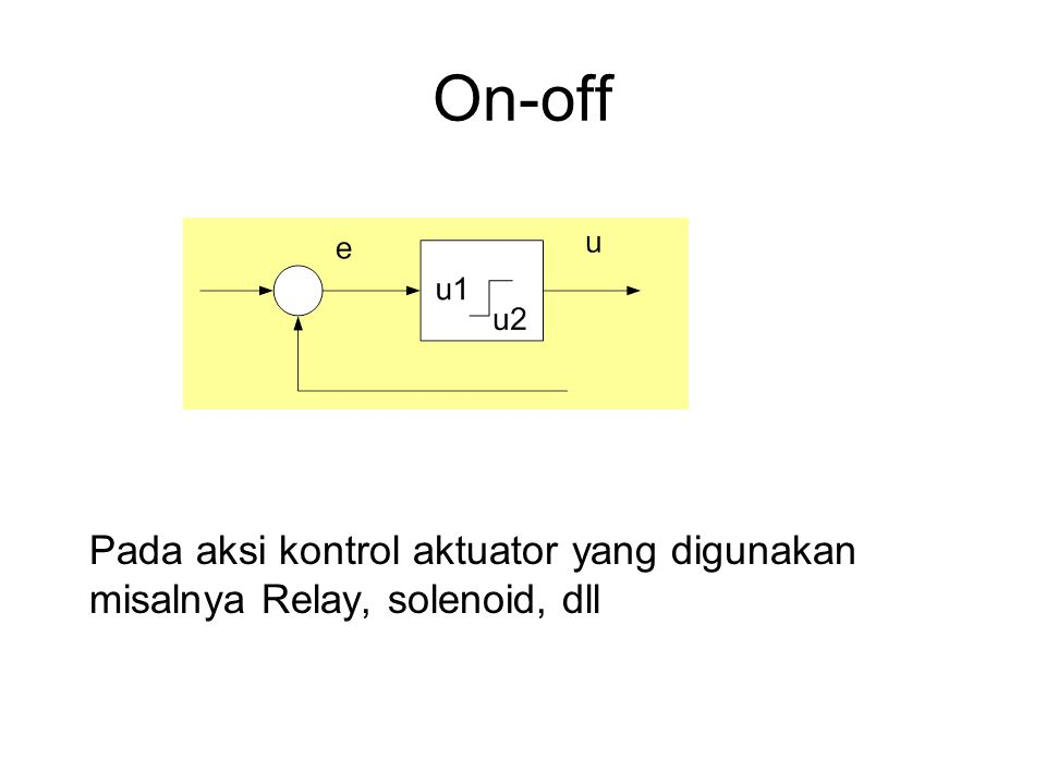 On-off Pada aksi kontrol aktuator yang digunakan misalnya Relay, solenoid, dll