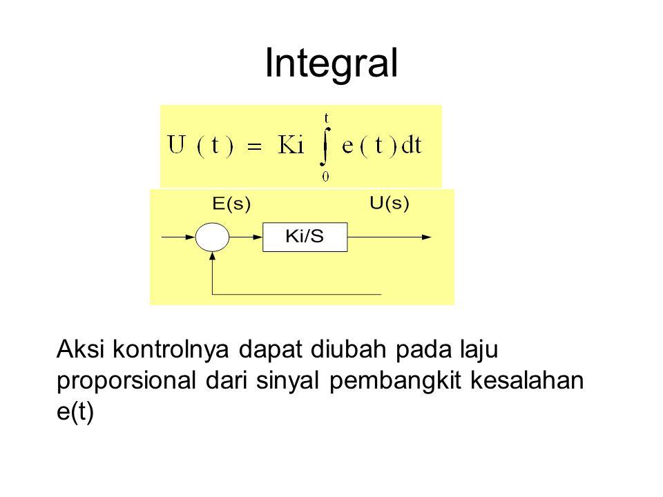 Integral Aksi kontrolnya dapat diubah pada laju proporsional dari sinyal pembangkit kesalahan e(t)