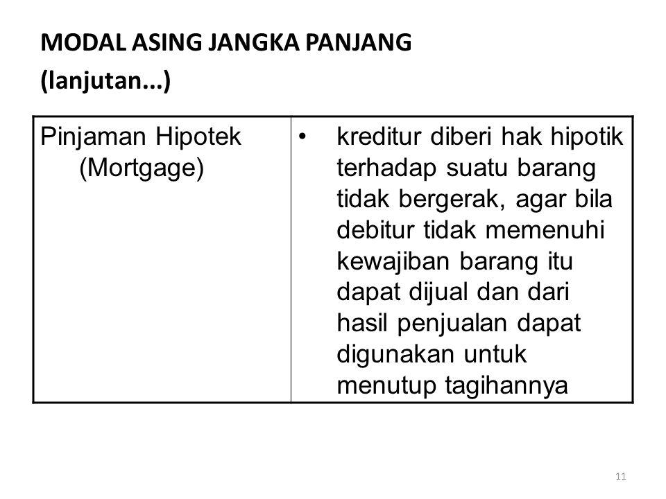11 MODAL ASING JANGKA PANJANG (lanjutan...) Pinjaman Hipotek (Mortgage) kreditur diberi hak hipotik terhadap suatu barang tidak bergerak, agar bila debitur tidak memenuhi kewajiban barang itu dapat dijual dan dari hasil penjualan dapat digunakan untuk menutup tagihannya