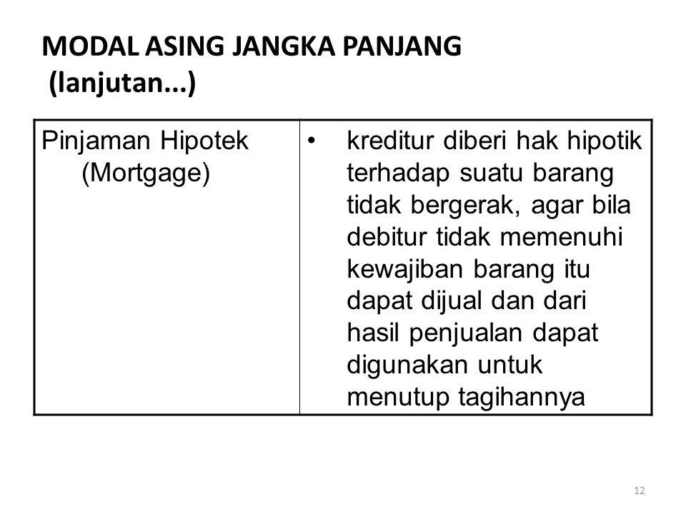 12 MODAL ASING JANGKA PANJANG (lanjutan...) Pinjaman Hipotek (Mortgage) kreditur diberi hak hipotik terhadap suatu barang tidak bergerak, agar bila debitur tidak memenuhi kewajiban barang itu dapat dijual dan dari hasil penjualan dapat digunakan untuk menutup tagihannya
