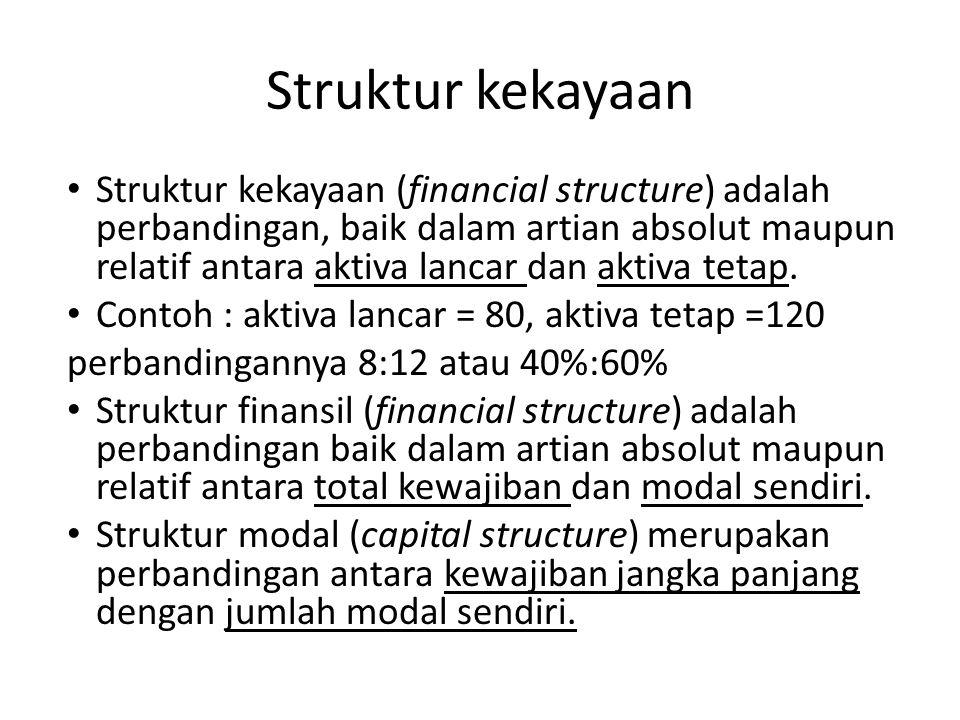 Struktur kekayaan Struktur kekayaan (financial structure) adalah perbandingan, baik dalam artian absolut maupun relatif antara aktiva lancar dan aktiva tetap.