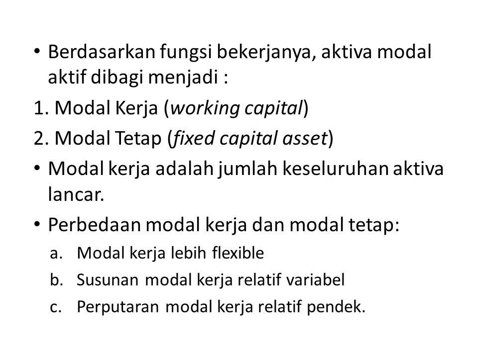 Berdasarkan fungsi bekerjanya, aktiva modal aktif dibagi menjadi : 1. Modal Kerja (working capital) 2. Modal Tetap (fixed capital asset) Modal kerja a