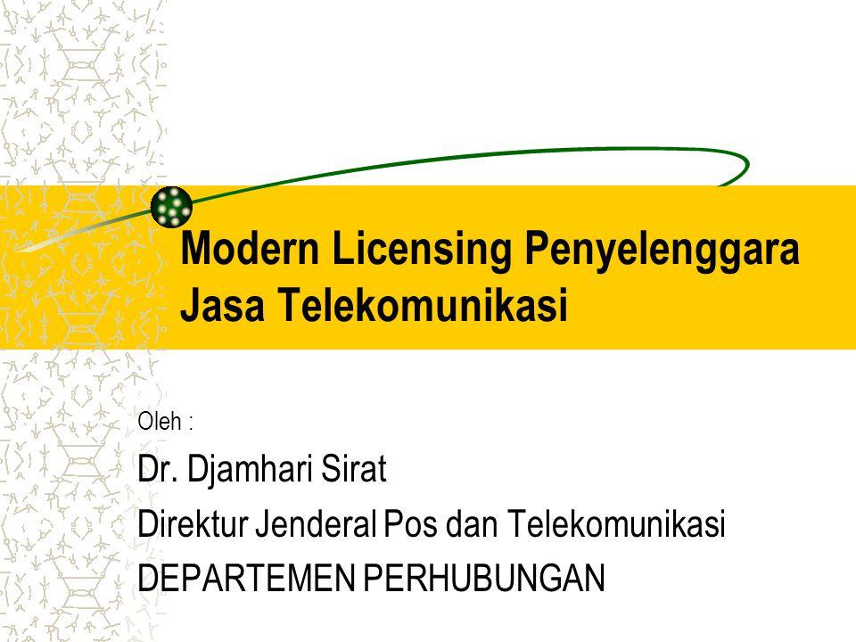 Agenda Dasar Hukum Jenis Penyelenggaraan Jenis Perizinan Prasyaratan Perizinan Diagram Alur Perizinan Jasa Telekomunikasi Item-Item Modern Licensing Rekapitulasi Modern Licensing Penyelenggara Multimedia Analisis Modern Licensing Kesimpulan