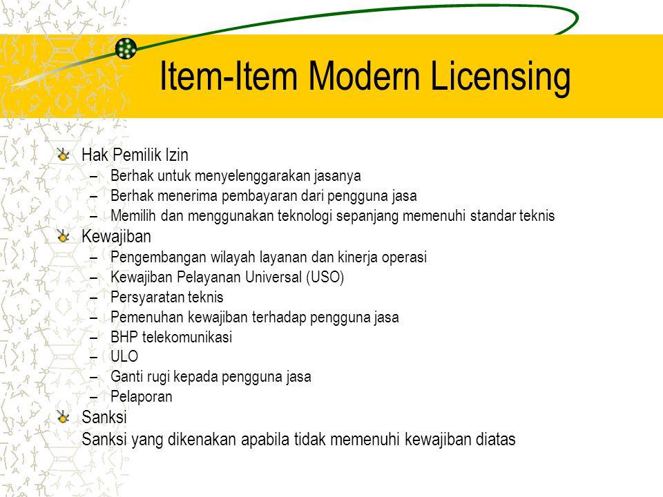 Rekapitulasi Modern Licensing Penyelenggara Multimedia PenyelenggaraanIzin PrinsipIzin Penyelenggaraan (Non Modern Licensing) Izin Penyelenggaraan (Modern Licensing) ISP105949 NAP29122 ITKP751 Pay TV1161