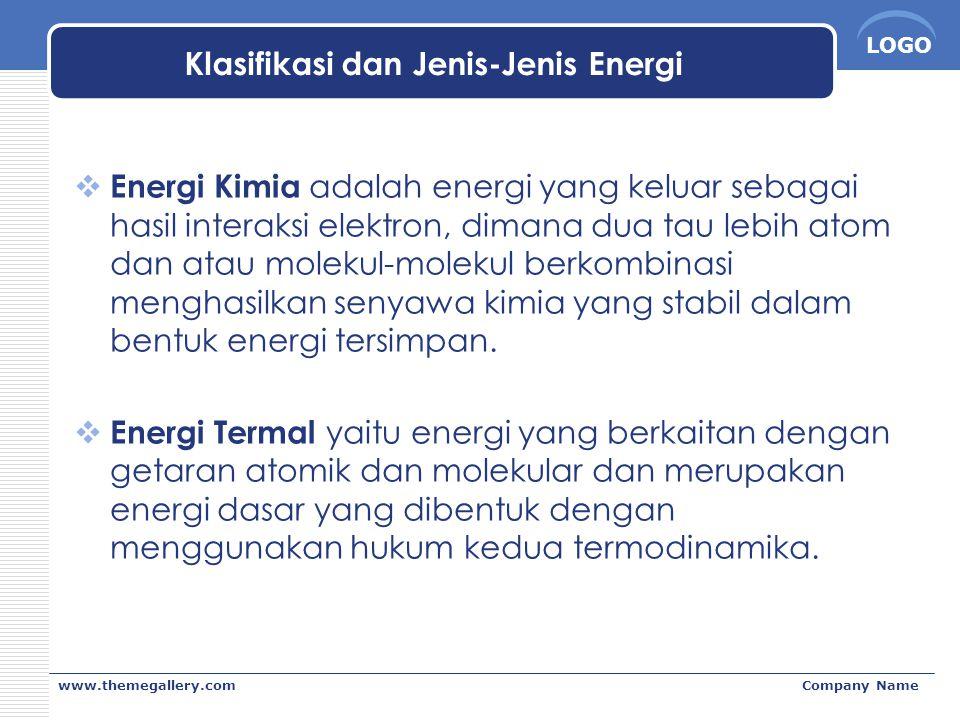 LOGO www.themegallery.comCompany Name Klasifikasi dan Jenis-Jenis Energi  Energi Kimia adalah energi yang keluar sebagai hasil interaksi elektron, di