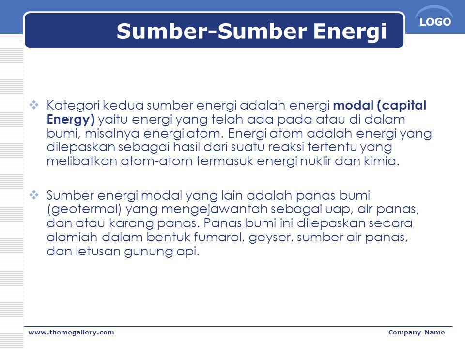 LOGO www.themegallery.comCompany Name Sumber-Sumber Energi  Kategori kedua sumber energi adalah energi modal (capital Energy) yaitu energi yang telah