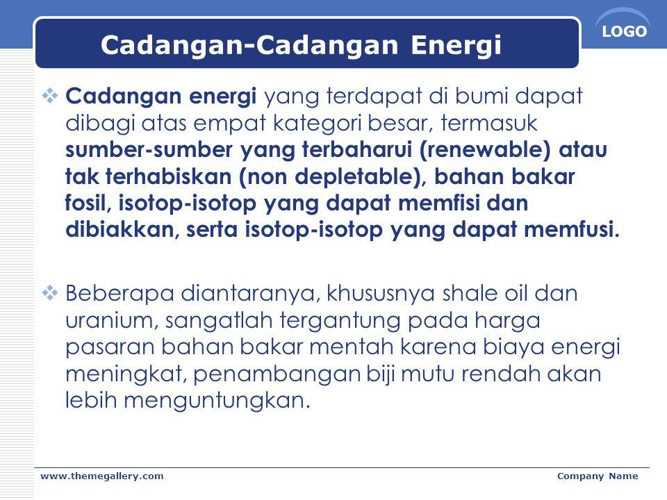 LOGO www.themegallery.comCompany Name Cadangan-Cadangan Energi  Cadangan energi yang terdapat di bumi dapat dibagi atas empat kategori besar, termasuk sumber-sumber yang terbaharui (renewable) atau tak terhabiskan (non depletable), bahan bakar fosil, isotop-isotop yang dapat memfisi dan dibiakkan, serta isotop-isotop yang dapat memfusi.
