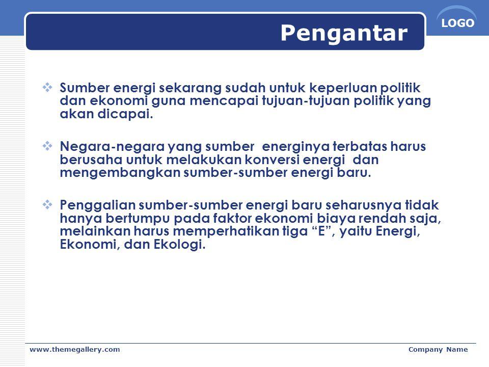 LOGO www.themegallery.comCompany Name Pengantar  Sumber energi sekarang sudah untuk keperluan politik dan ekonomi guna mencapai tujuan-tujuan politik