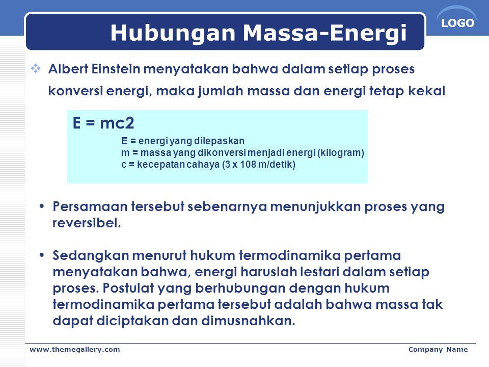 LOGO www.themegallery.comCompany Name Hubungan Massa-Energi  Albert Einstein menyatakan bahwa dalam setiap proses konversi energi, maka jumlah massa
