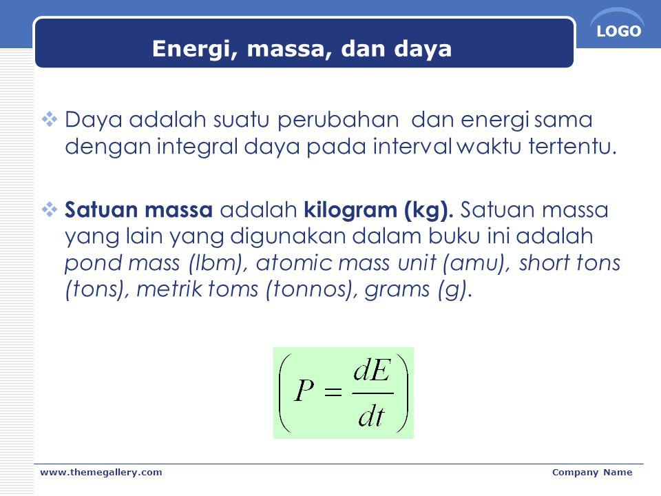 LOGO www.themegallery.comCompany Name Energi, massa, dan daya  Daya adalah suatu perubahan dan energi sama dengan integral daya pada interval waktu t