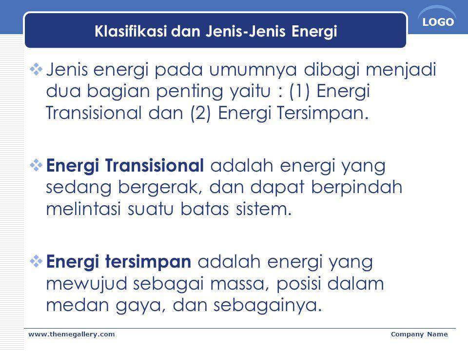 LOGO www.themegallery.comCompany Name Klasifikasi dan Jenis-Jenis Energi  Jenis energi pada umumnya dibagi menjadi dua bagian penting yaitu : (1) Ene