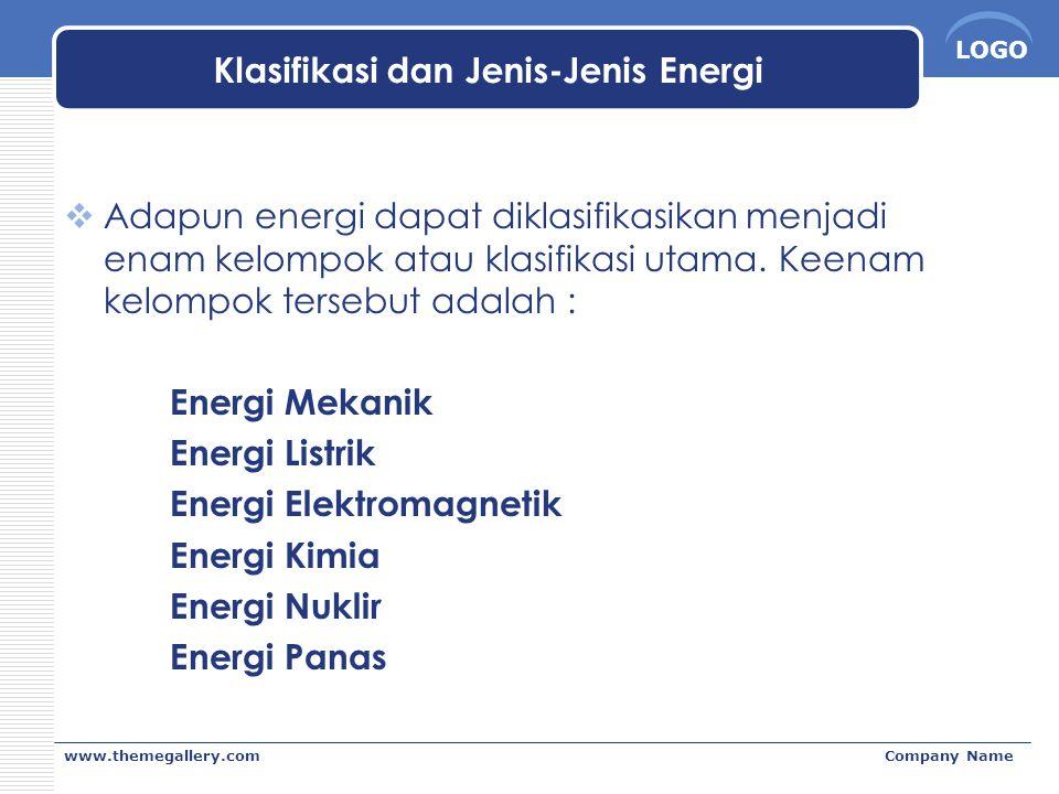 LOGO www.themegallery.comCompany Name Klasifikasi dan Jenis-Jenis Energi  Adapun energi dapat diklasifikasikan menjadi enam kelompok atau klasifikasi