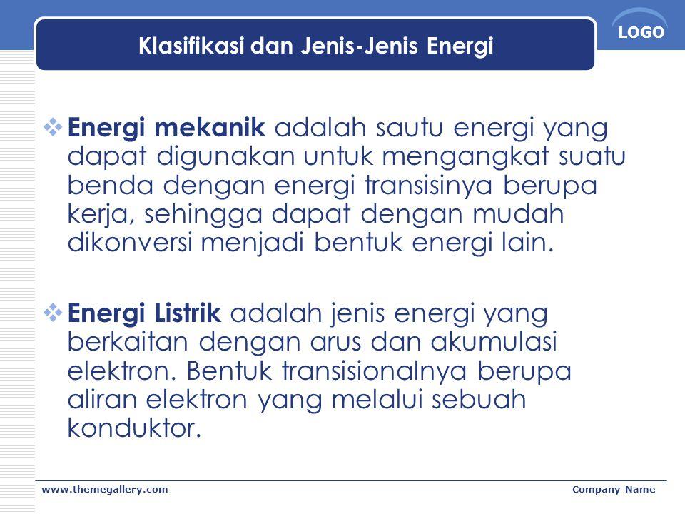 LOGO www.themegallery.comCompany Name Klasifikasi dan Jenis-Jenis Energi  Energi mekanik adalah sautu energi yang dapat digunakan untuk mengangkat su