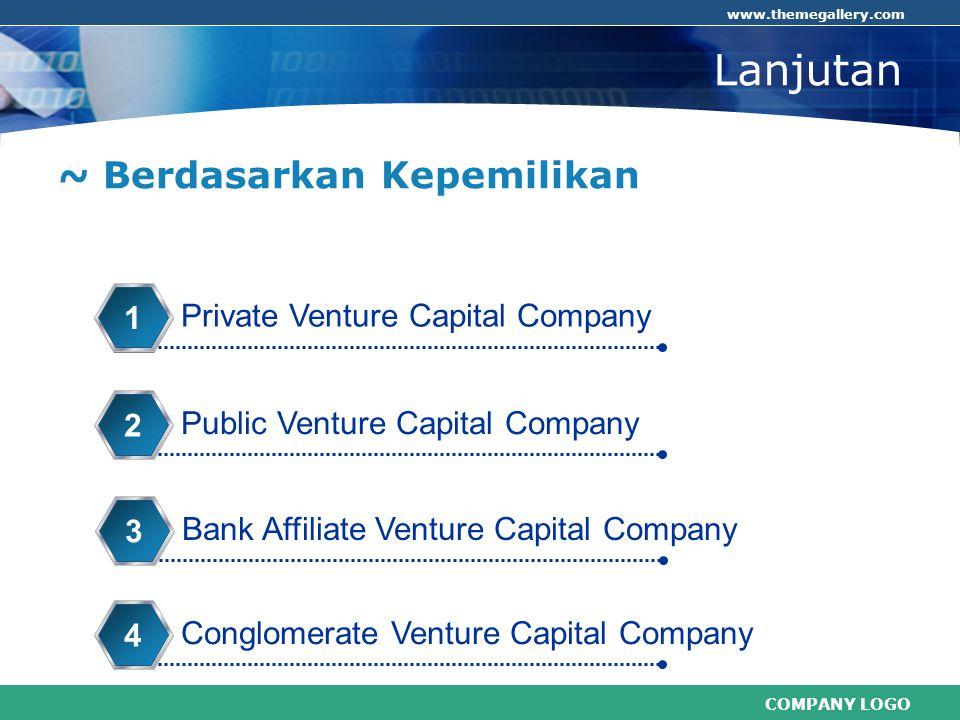 COMPANY LOGO www.themegallery.com Lanjutan ~ Berdasarkan Kepemilikan Private Venture Capital Company 1 Public Venture Capital Company 2 Bank Affiliate