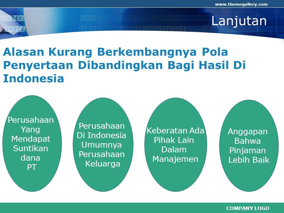 COMPANY LOGO www.themegallery.com Lanjutan Alasan Kurang Berkembangnya Pola Penyertaan Dibandingkan Bagi Hasil Di Indonesia Perusahaan Yang Mendapat S