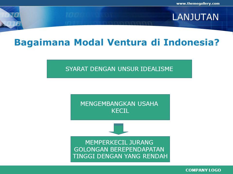 COMPANY LOGO www.themegallery.com SYARAT DENGAN UNSUR IDEALISME LANJUTAN Bagaimana Modal Ventura di Indonesia? MEMPERKECIL JURANG GOLONGAN BEREPENDAPA