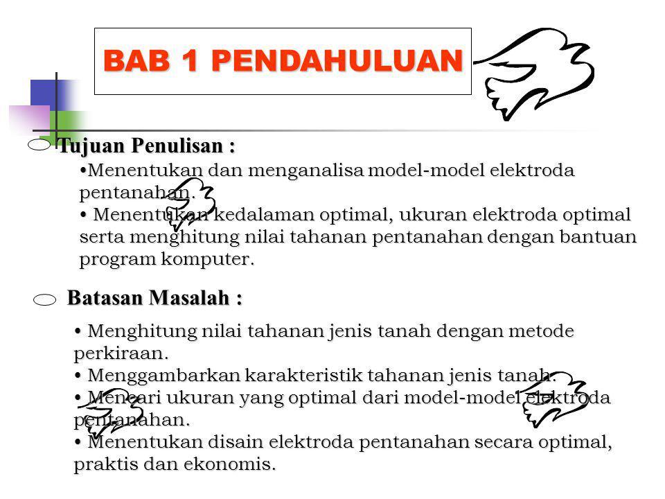 BAB 1 PENDAHULUAN Tujuan Penulisan : Batasan Masalah : Menentukan dan menganalisa model-model elektroda pentanahan.Menentukan dan menganalisa model-model elektroda pentanahan.