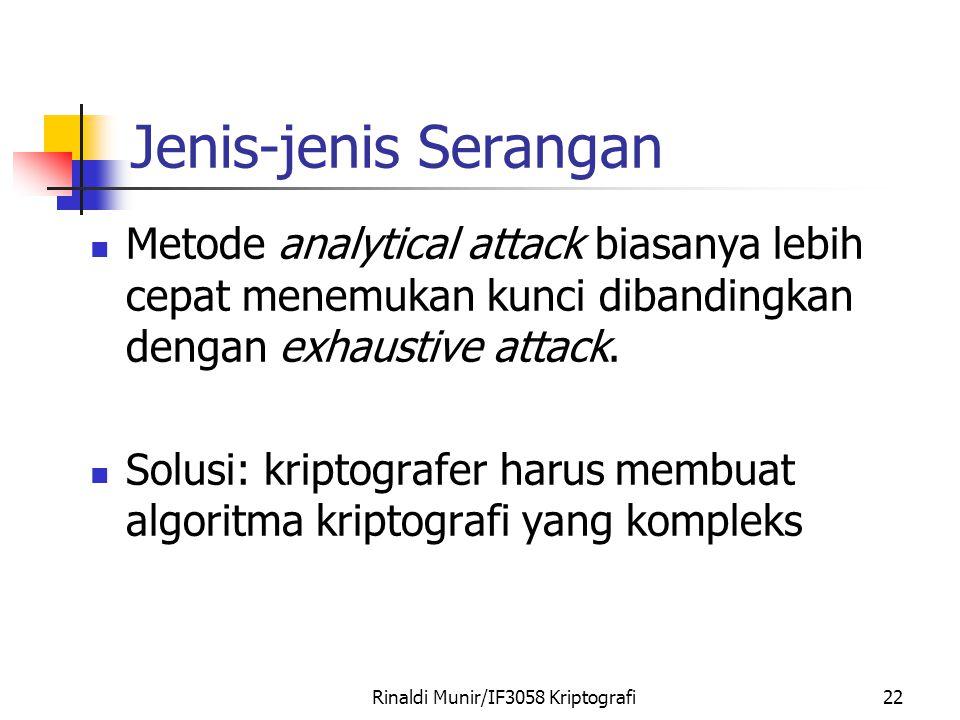 Rinaldi Munir/IF3058 Kriptografi22 Jenis-jenis Serangan Metode analytical attack biasanya lebih cepat menemukan kunci dibandingkan dengan exhaustive attack.