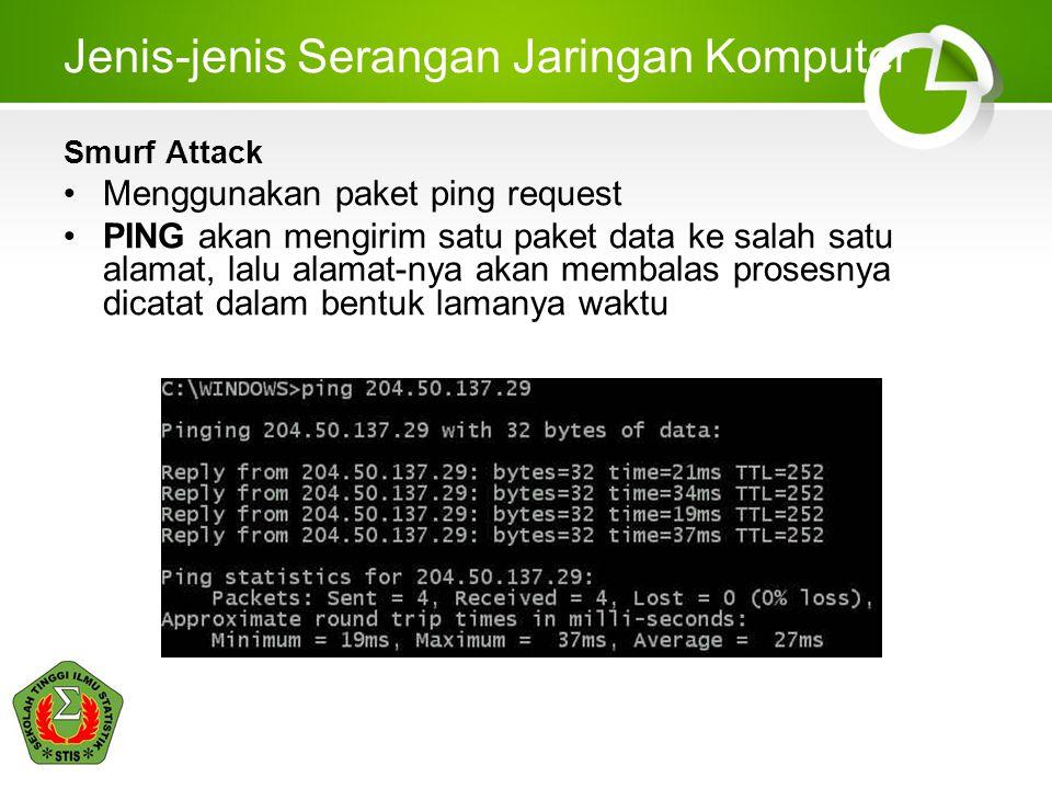 Jenis-jenis Serangan Jaringan Komputer Smurf Attack Menggunakan paket ping request PING akan mengirim satu paket data ke salah satu alamat, lalu alamat-nya akan membalas prosesnya dicatat dalam bentuk lamanya waktu