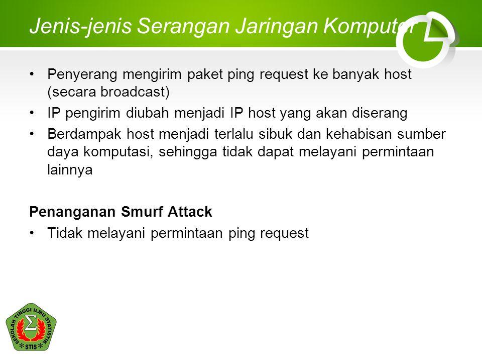 Jenis-jenis Serangan Jaringan Komputer Penyerang mengirim paket ping request ke banyak host (secara broadcast) IP pengirim diubah menjadi IP host yang akan diserang Berdampak host menjadi terlalu sibuk dan kehabisan sumber daya komputasi, sehingga tidak dapat melayani permintaan lainnya Penanganan Smurf Attack Tidak melayani permintaan ping request