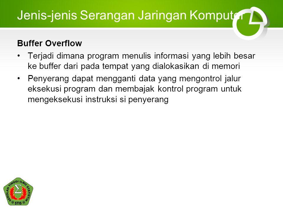 Jenis-jenis Serangan Jaringan Komputer Buffer Overflow Terjadi dimana program menulis informasi yang lebih besar ke buffer dari pada tempat yang dialokasikan di memori Penyerang dapat mengganti data yang mengontrol jalur eksekusi program dan membajak kontrol program untuk mengeksekusi instruksi si penyerang