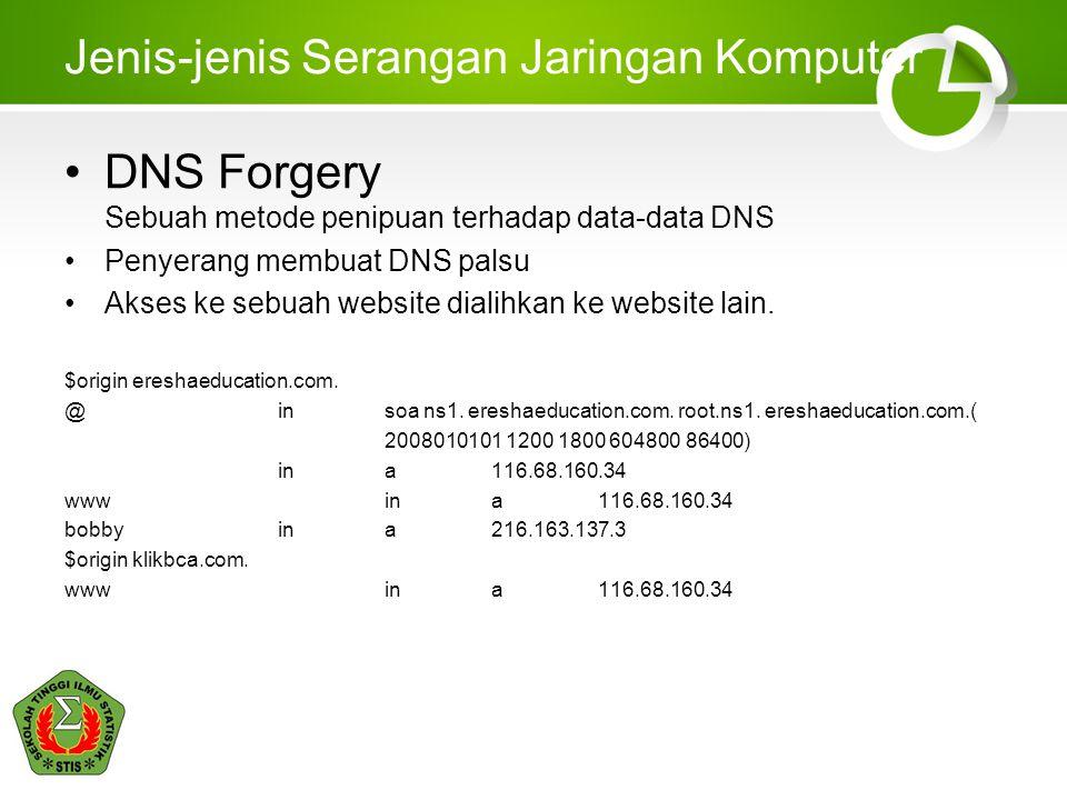 Jenis-jenis Serangan Jaringan Komputer DNS Forgery Sebuah metode penipuan terhadap data-data DNS Penyerang membuat DNS palsu Akses ke sebuah website dialihkan ke website lain.