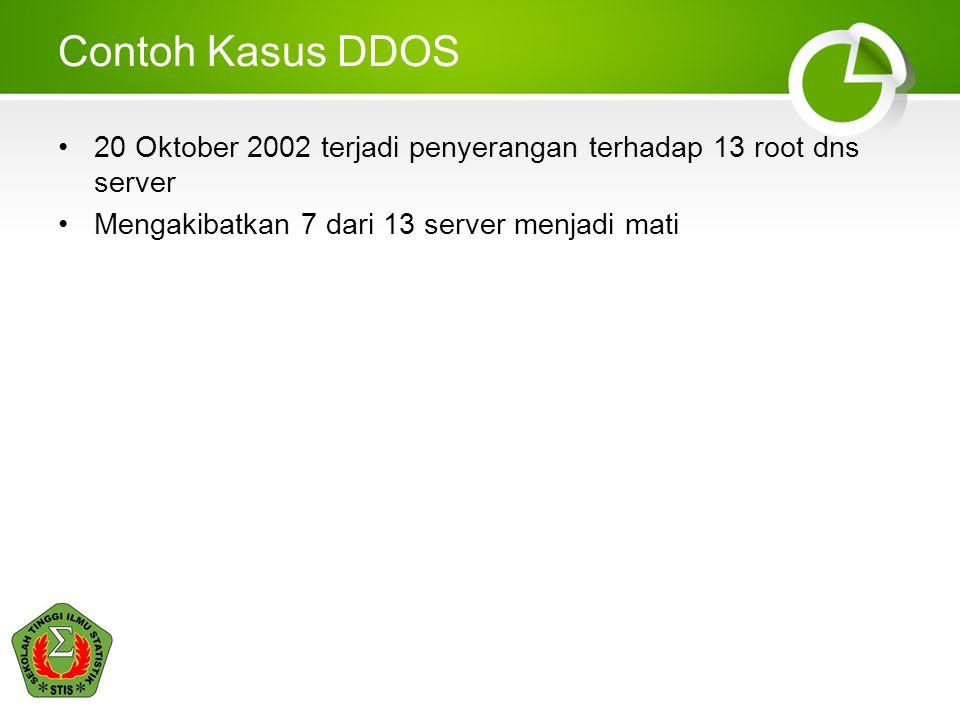 Contoh Kasus DDOS 20 Oktober 2002 terjadi penyerangan terhadap 13 root dns server Mengakibatkan 7 dari 13 server menjadi mati