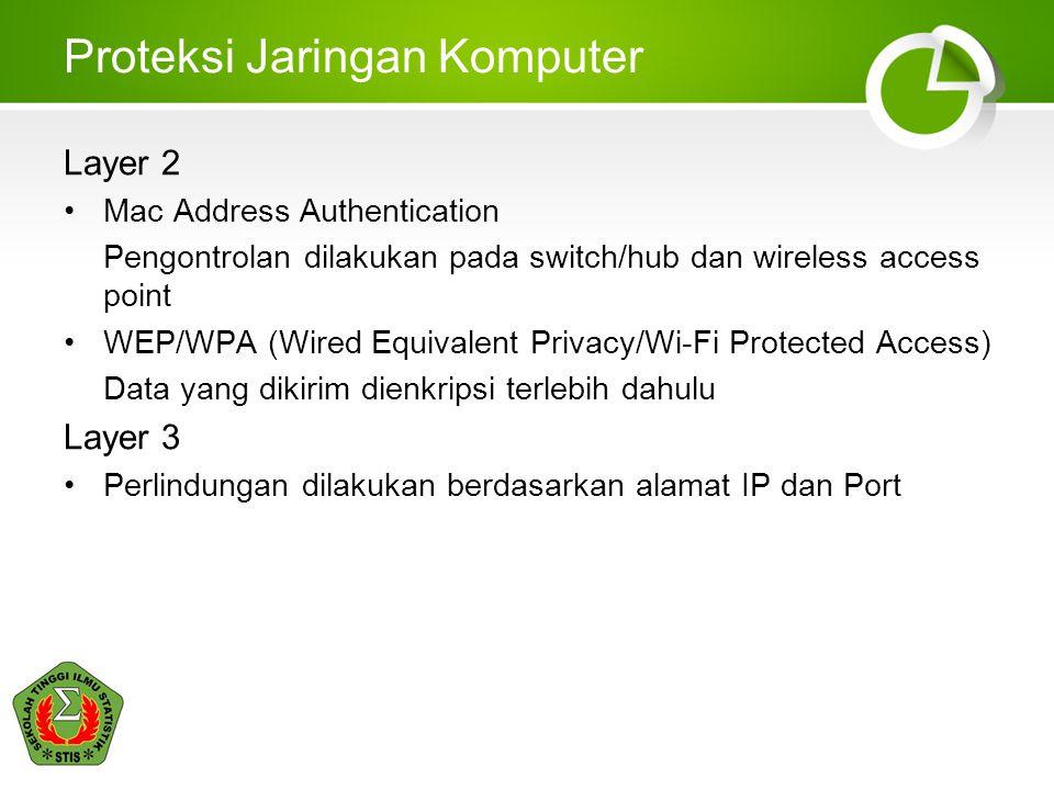 Proteksi Jaringan Komputer Layer 4/5 Pengamanan lebih difokuskan dalam mengamankan data yang dikirim Misalnya dengan VPN (Virtual Private Network) Layer 7 Metode yang digunakan SSL (Secure Socket Layer) Misalnya  mengakses url web: https://domain.com  mengakses komputer remote dengan ssh (secure shell) dan scp (secure copy)