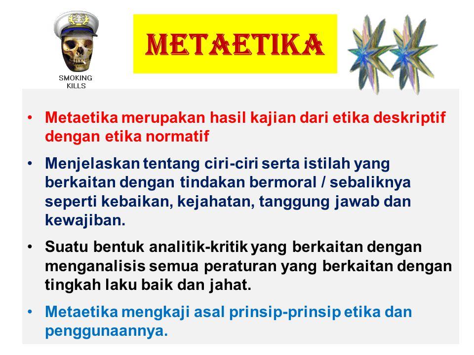 METAETIKA Metaetika merupakan hasil kajian dari etika deskriptif dengan etika normatif Menjelaskan tentang ciri-ciri serta istilah yang berkaitan deng
