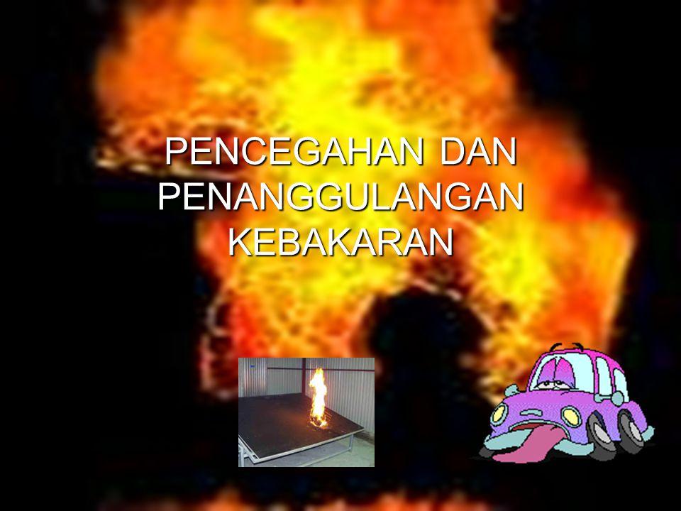 Penyebab terjadinya kebakaran Bertemunya Bahan mudah terbakar Oksigen Sumber panas Api, bara api, loncatan bunga api listrik, hubungan pendek, logampanas, reaksi eksotermis Pelarut organik