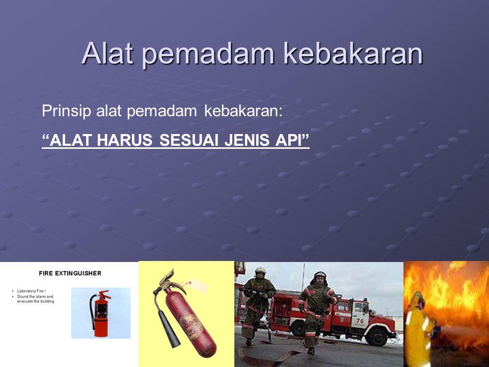 """Alat pemadam kebakaran Prinsip alat pemadam kebakaran: """"ALAT HARUS SESUAI JENIS API"""""""