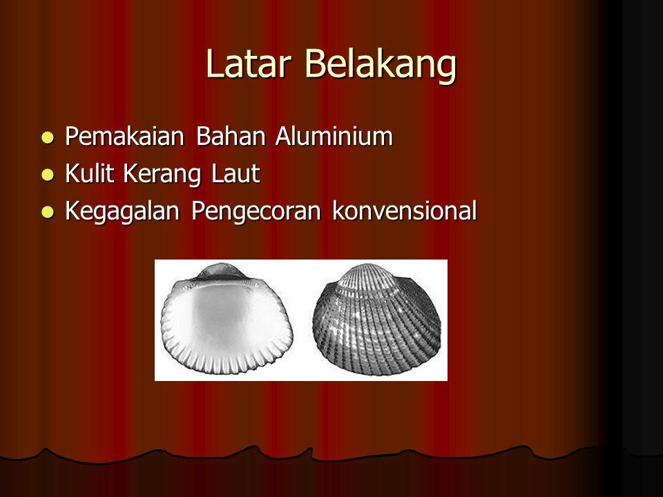 Latar Belakang Pemakaian Bahan Aluminium Pemakaian Bahan Aluminium Kulit Kerang Laut Kulit Kerang Laut Kegagalan Pengecoran konvensional Kegagalan Pen