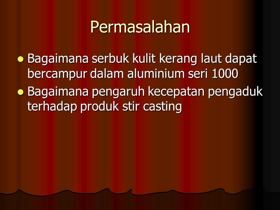 Permasalahan Bagaimana serbuk kulit kerang laut dapat bercampur dalam aluminium seri 1000 Bagaimana pengaruh kecepatan pengaduk terhadap produk stir c