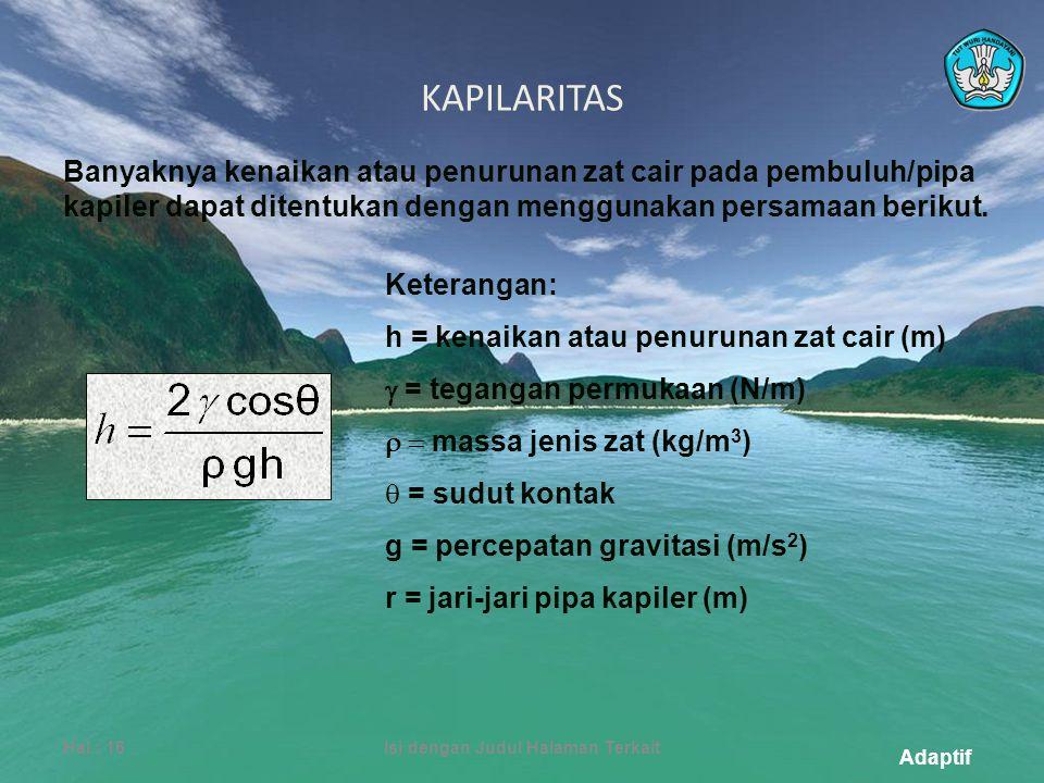 Adaptif KAPILARITAS Hal.: 16Isi dengan Judul Halaman Terkait Banyaknya kenaikan atau penurunan zat cair pada pembuluh/pipa kapiler dapat ditentukan dengan menggunakan persamaan berikut.