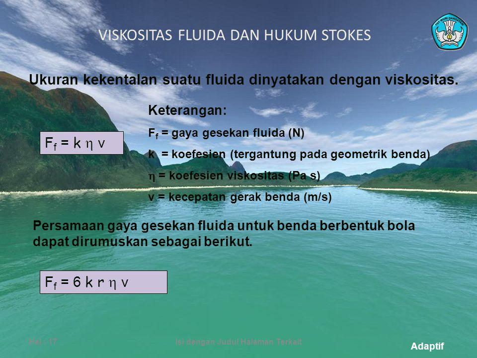 Adaptif VISKOSITAS FLUIDA DAN HUKUM STOKES Hal.: 17Isi dengan Judul Halaman Terkait Ukuran kekentalan suatu fluida dinyatakan dengan viskositas.