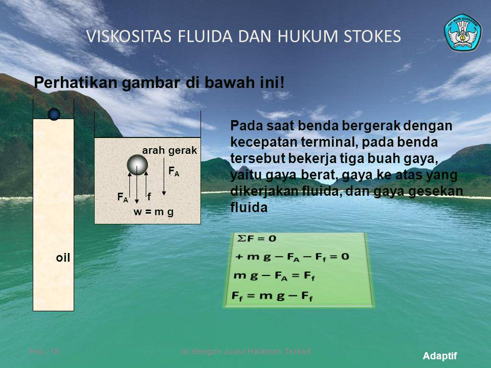 Adaptif VISKOSITAS FLUIDA DAN HUKUM STOKES Hal.: 18Isi dengan Judul Halaman Terkait w = m g FAFA fFAFA arah gerak Perhatikan gambar di bawah ini.