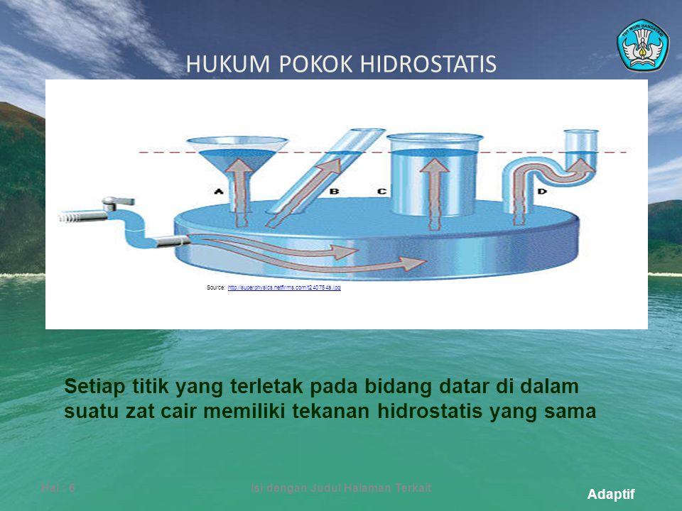 Adaptif HUKUM POKOK HIDROSTATIS Hal.: 6Isi dengan Judul Halaman Terkait Source: http://superphysics.netfirms.com/t240754a.jpghttp://superphysics.netfirms.com/t240754a.jpg Setiap titik yang terletak pada bidang datar di dalam suatu zat cair memiliki tekanan hidrostatis yang sama