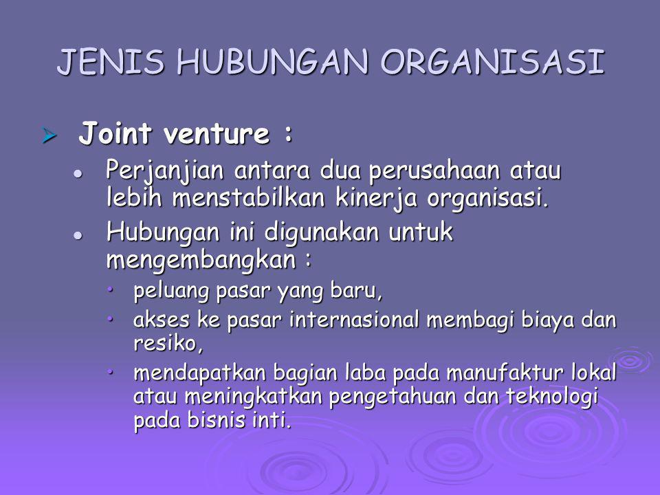 JENIS HUBUNGAN ORGANISASI  Joint venture : Perjanjian antara dua perusahaan atau lebih menstabilkan kinerja organisasi. Perjanjian antara dua perusah